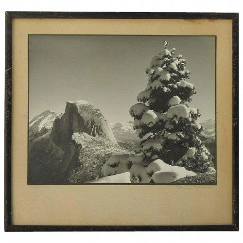 """Vintage black and white photograph of Half Dome Yosemite signed """"Ballard"""" titled """"FIRST SNOW"""""""