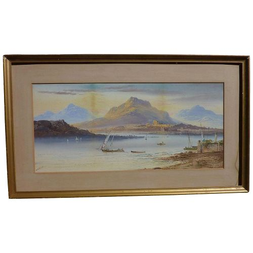 William Henry Earp (1831-1914) English well listed artist watercolor painting of Lake Geneva and mountains