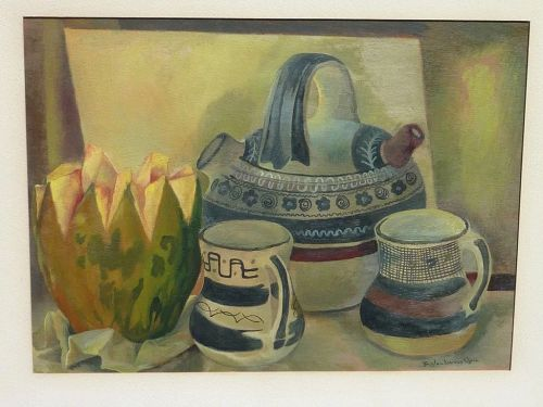 modern Mexican surrealist art early still life painting by listed artist Froylan Ojeda (1932- 1991)