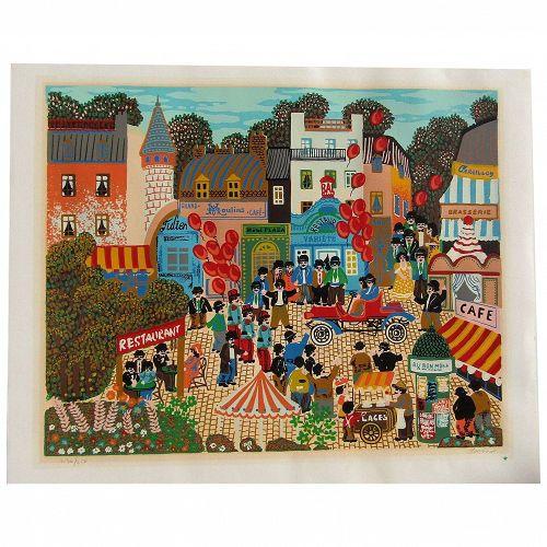 """Claudine"" colorful French naive folk art city scene pencil signed original serigraph unframed"