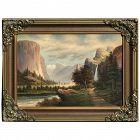 Una Gray (1879 -1930)  American artist Yosemite Valley waterfall mountains lake painting