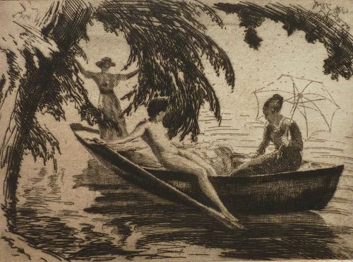 Wilhelm Hempfing German artist etching circa 1915 of three women in a summer reverie