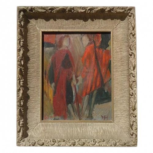 ROSEN American artist modern abstract oil painting of a two ladies in red