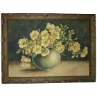 Still life watercolor painting of wild roses in vase signed with initials