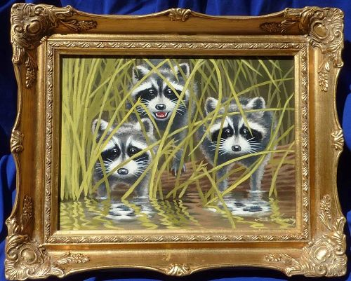 Wildlife art oil painting of three cute raccoon