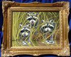 Wildlife art oil painting of three cute raccoon