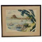 Watercolor painting of Morro Bay California coastal dock with boats scene signed ROBINSON