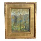 Old impressionist landscape oil painting of autumn trees and mountains