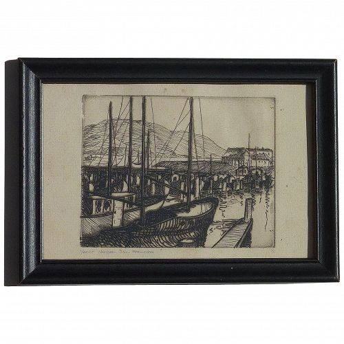 Etching San Francisco harbor possibly Gene Kloss (1903-1996)