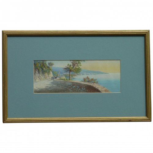 Y. Gianni Italian listed artist coastal landscape scene gouache painting signed