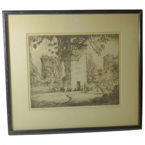 "New York  street scene ""Washington Square"" pencil signed etching by well listed American artist James Sanford Hulme (1900 - 1974)"