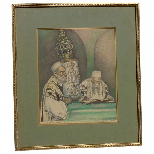 Saul Rabino (1892- 1969) Jewish art signed color lithograph print holy men and Torah