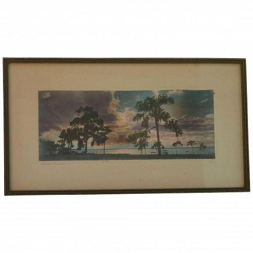 "Vintage tinted color photograph of Florida sunset signed ""Harris"""