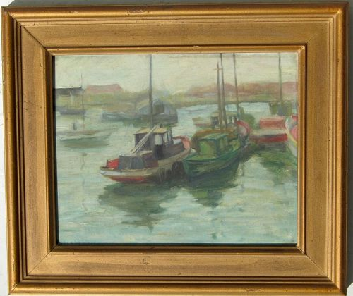 Eva Blanche Whelan (1889- 1974) American artist boats painting