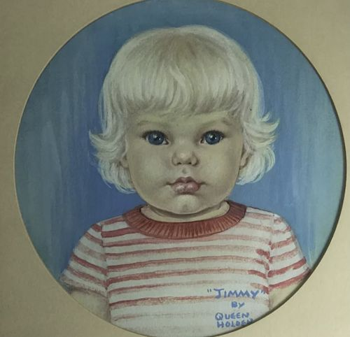 """Queen Holden """"Jimmy"""" young blond child gouache painting"""