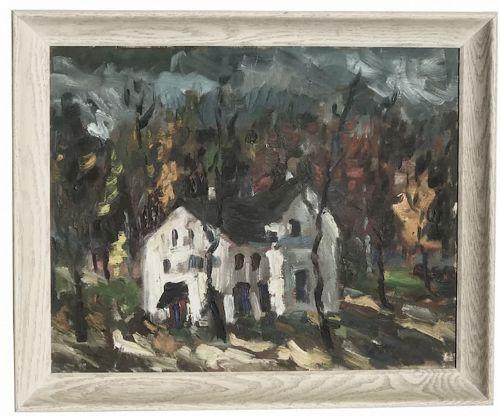 Oskar Skuskis (1909-1978) Latvian artist house painting
