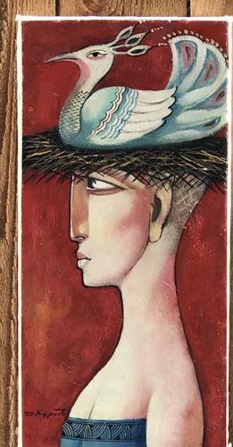 Colorful modern Italian painting woman bird nest hat