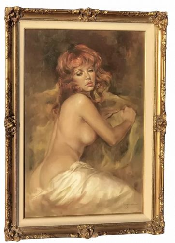 Leo Jansen red hair nude oil painting