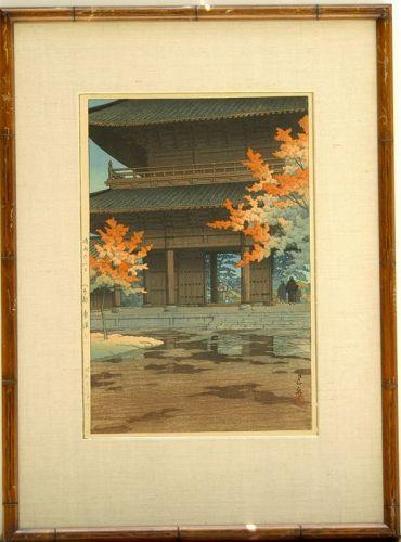 Kawase Hasui woodblock print Late Autumn Rain Nanzenji Kyoto