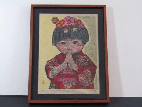 Murakami Gyojin Japanese Woodblock Print Praying Girl 1971