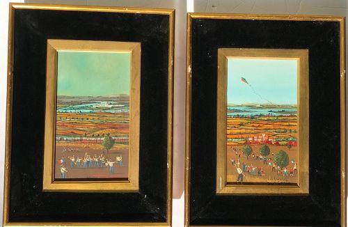 PAIR Jean Pierre Serrier French artist oil landscape paintings