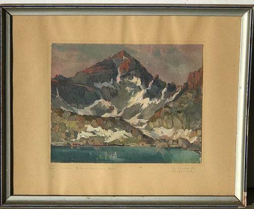 Ivan Trichkov (1892-1959) Impressionist Mountain landscape painting