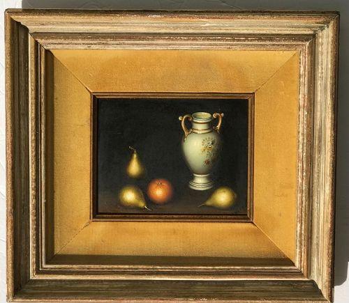 Still life fine painting vase orange pears