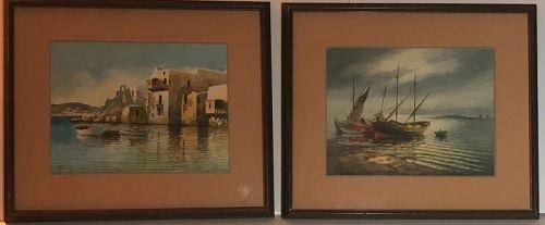 Pair Konstantinos Sofianopoulos l Greek artist watercolor paintings