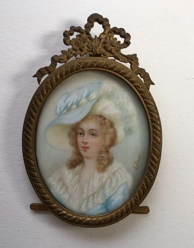 French Miniature portrait young woman painting signed