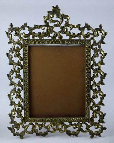 Rococo Brass Picture Frames, Pair