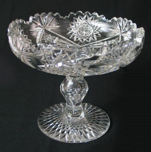 American Brilliant Cut Glass Compote or Tazza