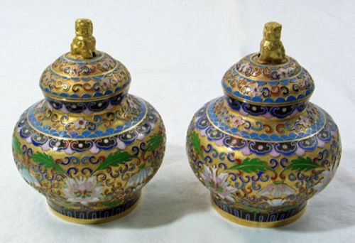 Champleve Enameled Jars, Pair