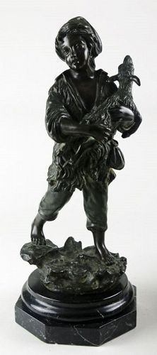 Shepherd Carrying Lamb (Bronze Sculpture after Michetti)