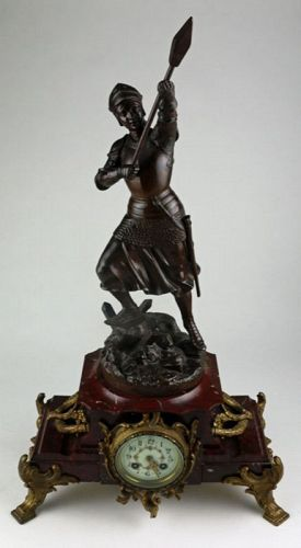 Mantle Clock with Joan of Arc Bronze