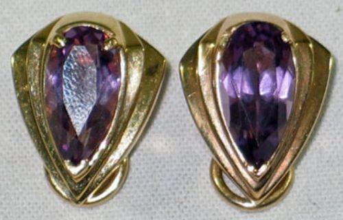 Amethyst Earrings in Shield Shaped Setting