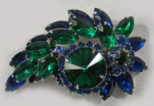 Blue and Green Rhinestone Wreath Brooch