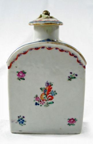 Chinese Export Porcelain Floral Tea Caddy