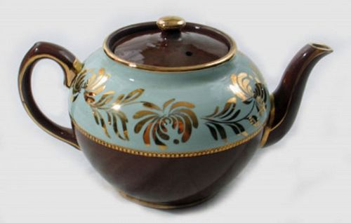 Chocolate and Mint Luster Teapot