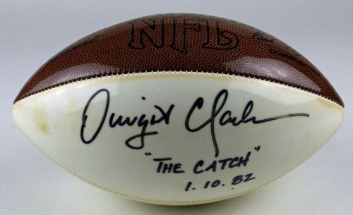 Dwight Clark Autographed Football with Case