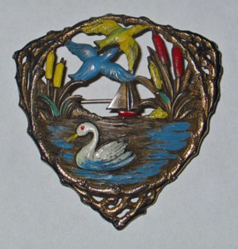 Enameled Riperian Brooch