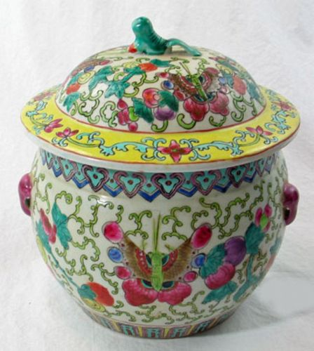 Famille Verte Porcelain Rice Pot with Lid