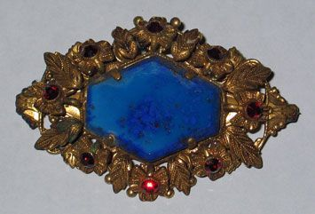 Lapis Colored Brooch with Folliate Frame