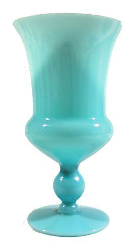 Milk Glass Goblet - Blue Turquoise