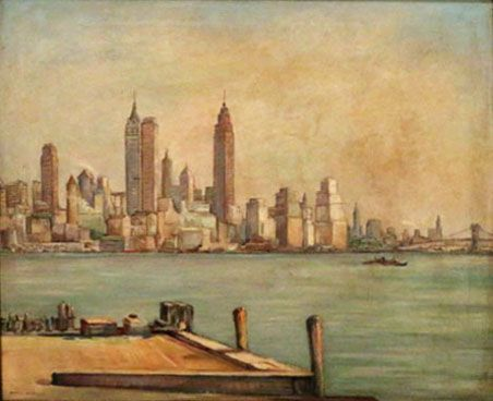 New York Harbor, Oil on Canvas