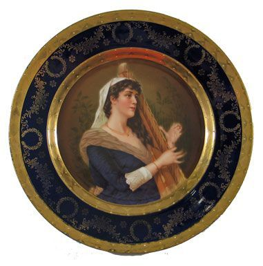 Portrait Plate of Woman with Harp