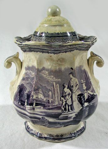 Purple Transferware Jar with Lid