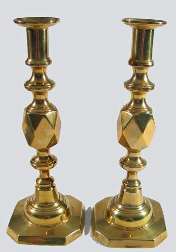 Queen of Diamonds Brass Candlestick Pair