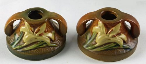 Roseville Zephyr Lilly Candlestick Pair