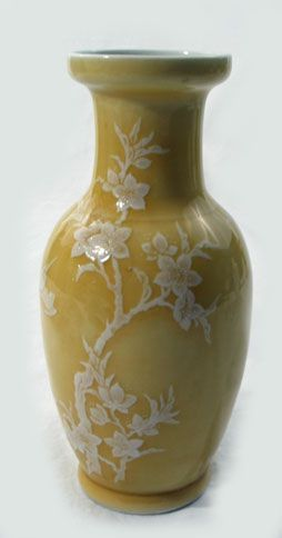Yellow Glazed Pate Sur Pate Vase