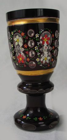 Practical Antique Hand Blown Hand Painted Bohemian Cranberry Crimped Edge Glass Vase Pottery & Glass